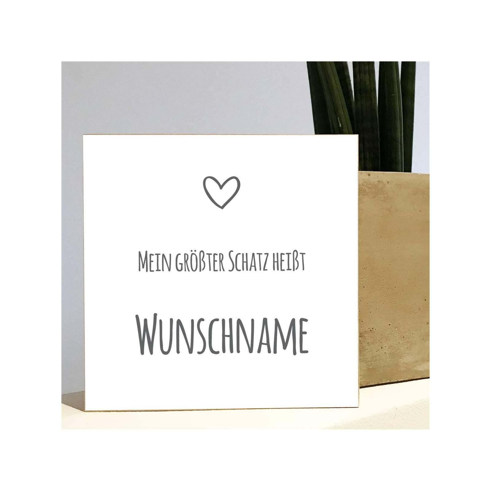 Holzbild Mein Schatz - Madyes - Personalisierte