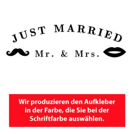 Personalisiert Aufkleber Mr. & Mrs. Just Married