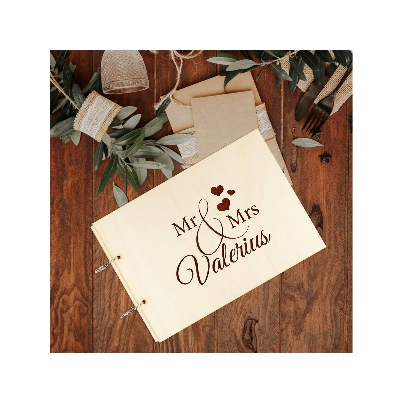 Hochzeit Gästebuch Holz Gravur individuell Holzcover A4 quer Schriftzug