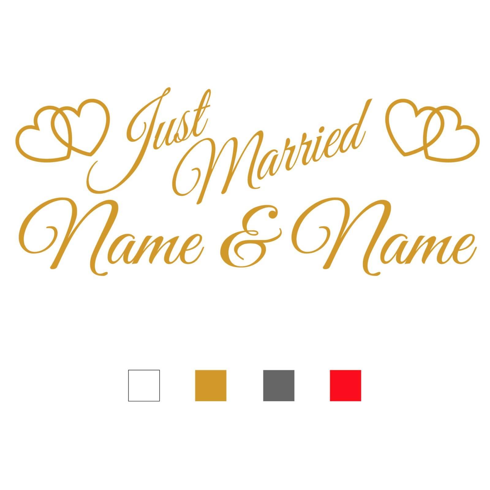 myrockshirt Hochzeitsaufkleber Typ 110 Just Married Autoaufkleber Deko Wandtattoo Tauben mit Herz Verlobung Trauung Vintage ca.cm