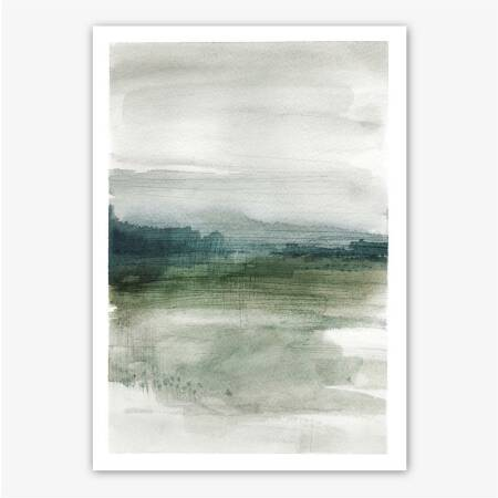 Watercolor abstract foggy landscape print printable poster DIN A5 (14,8 x 21 cm)